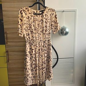 BCBG Max Azria Cream Leopard Print Dress XS